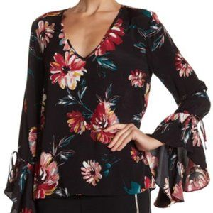 1.STATE Black Floral Print Cascade Sleeve Blouse